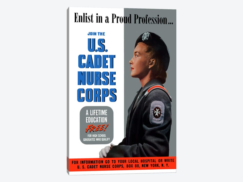 Join The US Cadet Nurse Corps Vintage Poster II by John Parrot 1-piece Canvas Print