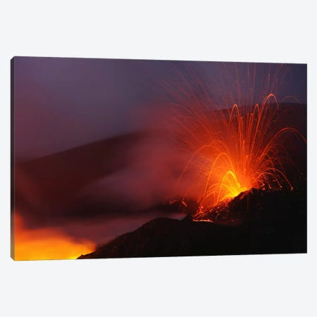 Mount Etna Eruption, Sicily, Italy Canvas Print #TRK1802} by Martin Rietze Canvas Art