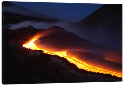 Mount Etna Lava Flow At Night, Sicily, Italy Canvas Art Print