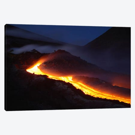 Mount Etna Lava Flow At Night, Sicily, Italy Canvas Print #TRK1803} by Martin Rietze Canvas Artwork