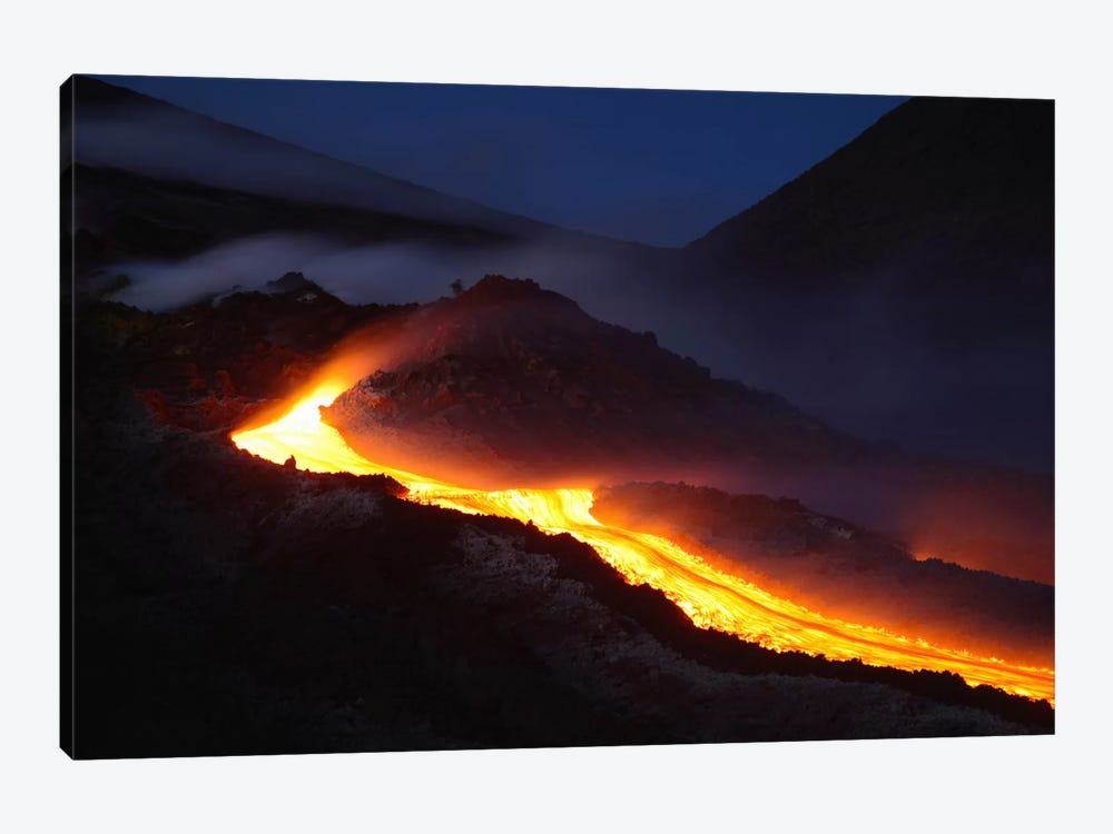 Mount Etna Lava Flow At Night, Sicily, Italy by Martin Rietze 1-piece Canvas Print