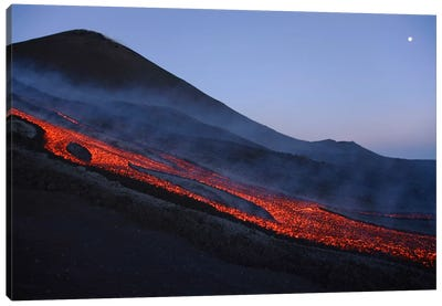 Mount Etna Lava Flow In Evening Dawn, Sicily, Italy Canvas Art Print
