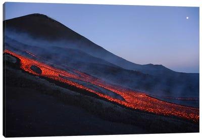 Mount Etna Lava Flow In Evening Dawn, Sicily, Italy Canvas Art Print