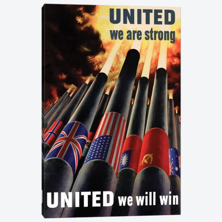 WWII Poster United We Will Win Canvas Print #TRK181} by John Parrot Canvas Artwork
