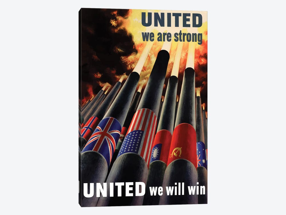 WWII Poster United We Will Win 1-piece Canvas Print