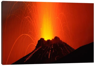 Stromboli Eruption, Aeolian Islands, North Of Sicily, Italy I Canvas Art Print