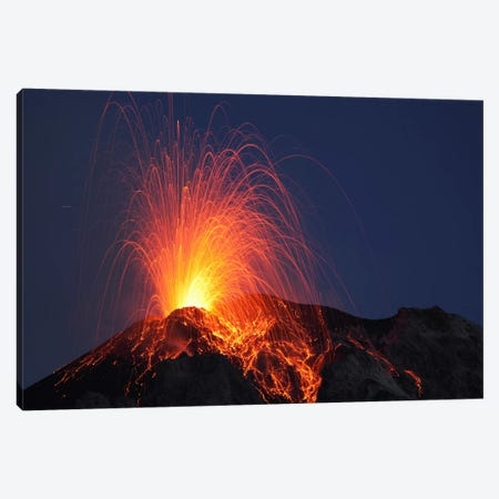 Stromboli Eruption, Aeolian Islands, North Of Sicily, Italy II Canvas Print #TRK1823} by Martin Rietze Canvas Art