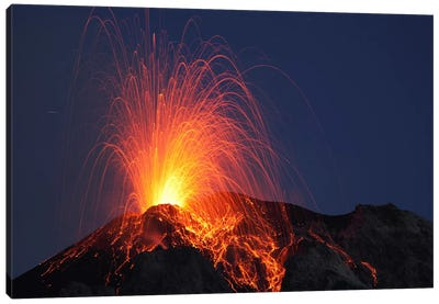 Stromboli Eruption, Aeolian Islands, North Of Sicily, Italy II Canvas Art Print