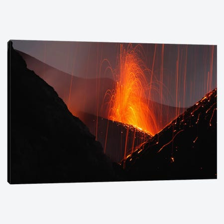 Stromboli Eruption, Aeolian Islands, North Of Sicily, Italy IV Canvas Print #TRK1825} by Martin Rietze Canvas Print