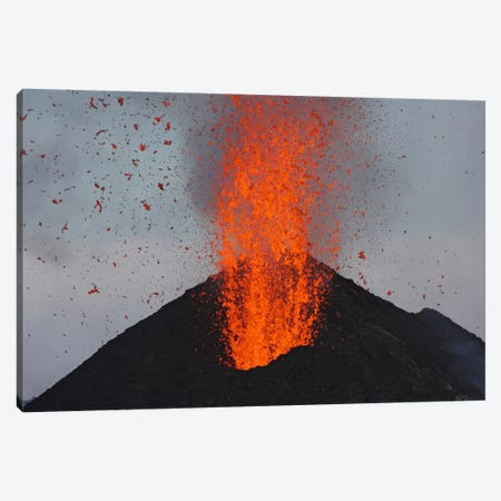 Stromboli Eruption, Aeolian Islands, North Of Sicily, Italy V Canvas Print #TRK1826} by Martin Rietze Art Print