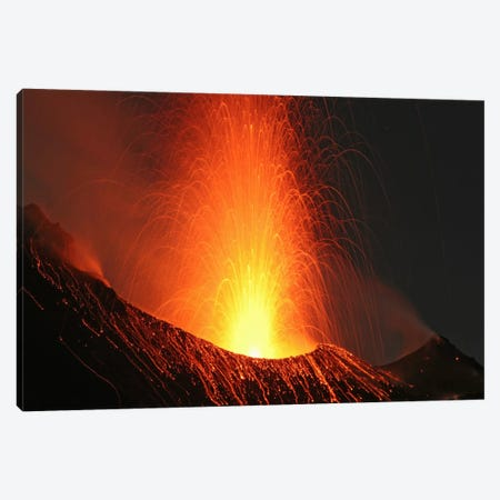 Stromboli Eruption, Aeolian Islands, North Of Sicily, Italy VIII Canvas Print #TRK1829} by Martin Rietze Canvas Wall Art