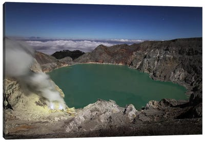 Acidic Crater Lake Of Kawah Ijen Volcano, Java, Indonesia Canvas Art Print