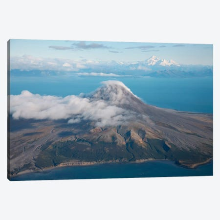 Aerial Image Of Mount St. Augustine Volcano, Cook Inlet, Alaska I Canvas Print #TRK1839} by Richard Roscoe Art Print