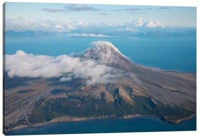 Aerial Image Of Mount St. Augustine Volcano, Cook Inlet, Alaska I Canvas Art Print
