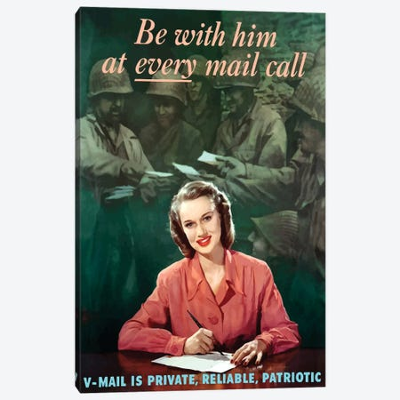 WWII Poster V-Mail Is Private, Reliable, Patriotic Canvas Print #TRK183} by John Parrot Canvas Art