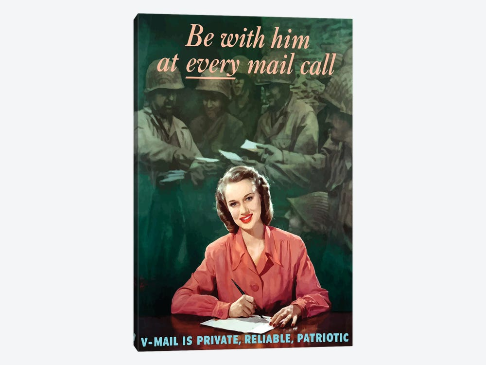 WWII Poster V-Mail Is Private, Reliable, Patriotic by John Parrot 1-piece Art Print