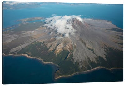 Aerial Image Of Mount St. Augustine Volcano, Cook Inlet, Alaska II Canvas Art Print