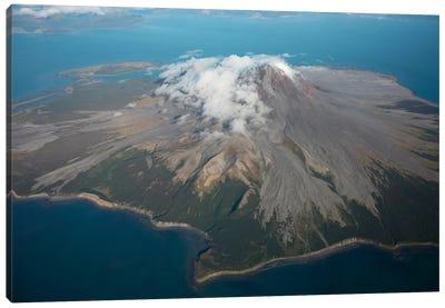 Aerial Image Of Mount St. Augustine Volcano, Cook Inlet, Alaska II Canvas Art Print