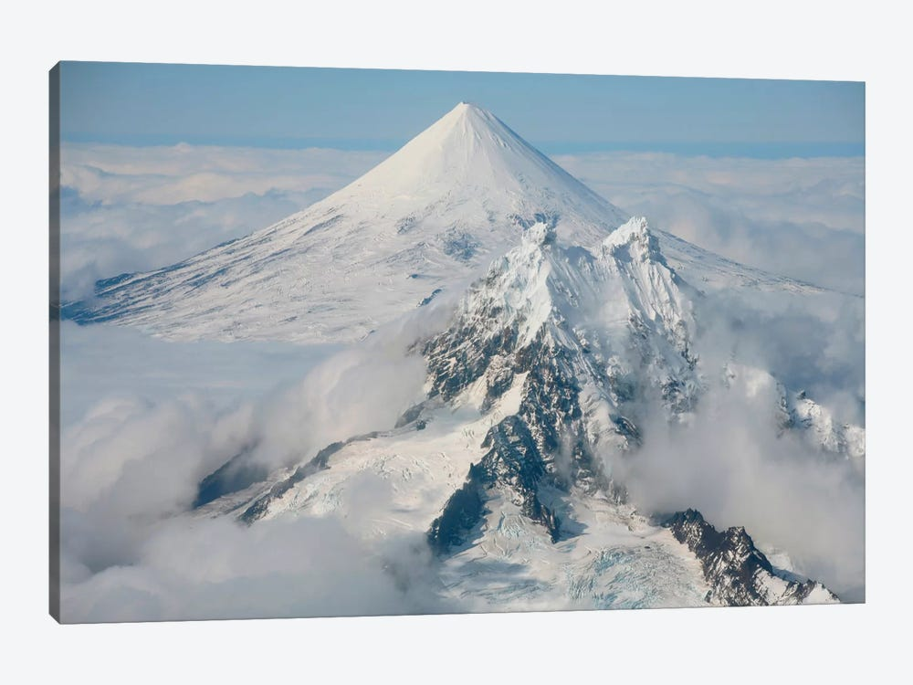 Aerial View Of Shishaldin Volcano, With Isanotski Peaks In Foreground, Alaska by Richard Roscoe 1-piece Canvas Art Print
