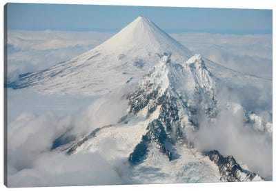 Aerial View Of Shishaldin Volcano, With Isanotski Peaks In Foreground, Alaska Canvas Art Print