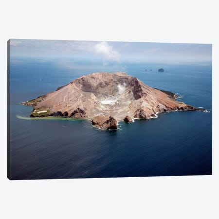 Aerial View Of White Island Volcano With Central Acidic Crater Lake, Bay Of Plenty, New Zealand Canvas Print #TRK1846} by Richard Roscoe Art Print