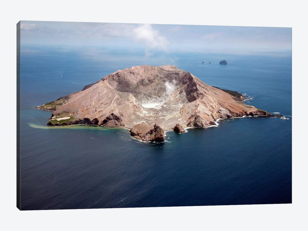 Aerial View Of White Island Volcano With Central Acidic Crater Lake, Bay Of Plenty, New Zealand by Richard Roscoe 1-piece Canvas Wall Art