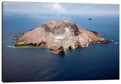 Aerial View Of White Island Volcano With Central Acidic Crater Lake, Bay Of Plenty, New Zealand Canvas Art Print