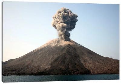 Ash Cloud From Vulcanian Eruption Of Anak Krakatau Volcano, Sunda Strait, Java, Indonesia Canvas Art Print