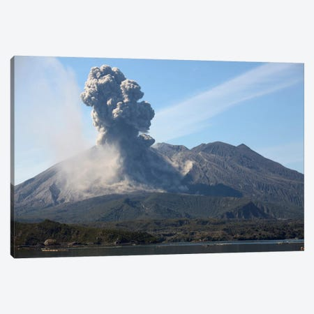 Ash Cloud Rising From Sakurajima Volcano, Japan Canvas Print #TRK1851} by Richard Roscoe Canvas Print