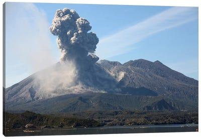 Ash Cloud Rising From Sakurajima Volcano, Japan Canvas Art Print
