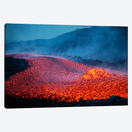 Boulder Rolling In Lava Flow At Dusk During Eruption Of Mount Etna Volcano, Sicily, Italy Canvas Print #TRK1854} by Richard Roscoe Canvas Wall Art