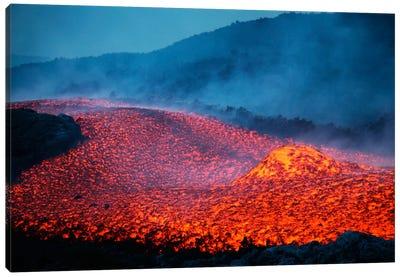 Boulder Rolling In Lava Flow At Dusk During Eruption Of Mount Etna Volcano, Sicily, Italy Canvas Art Print