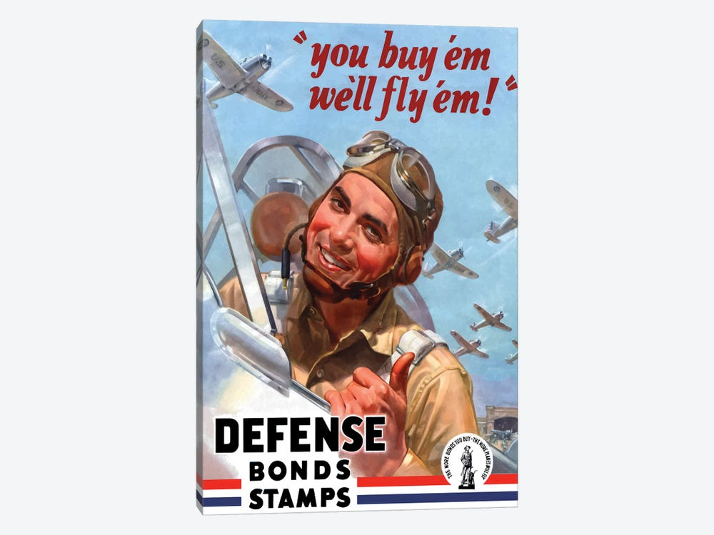 WWII Poster You Buy 'Em We'll Fly 'Em War Bonds by John Parrot 1-piece Canvas Print