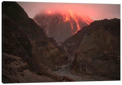 Cloud-Capped Lava Dome Of Soufriere Hills Volcano, Tar River Valley, Montserrat, Caribbean Canvas Art Print