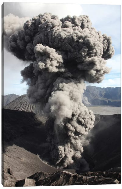 Eruption Of Ash Cloud From Crater Of Mount Bromo, Tengger Caldera, Java, Indonesia Canvas Art Print