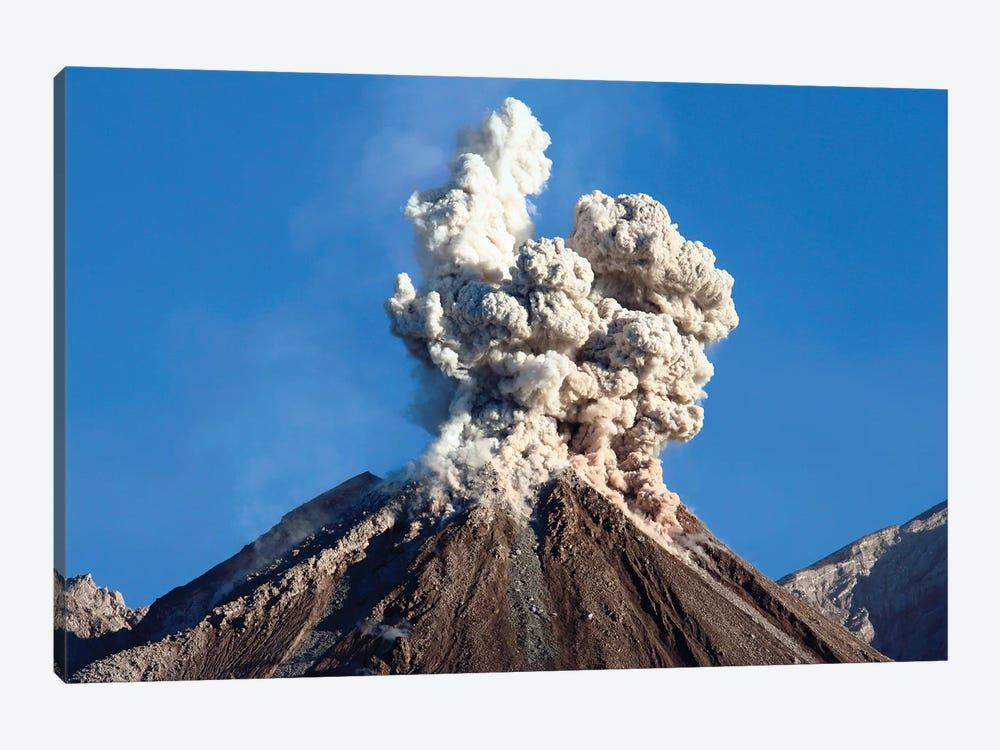 Eruption Of Ash Cloud From Santiaguito Dome Complex, Santa Maria Volcano, Guatemala I by Richard Roscoe 1-piece Canvas Print