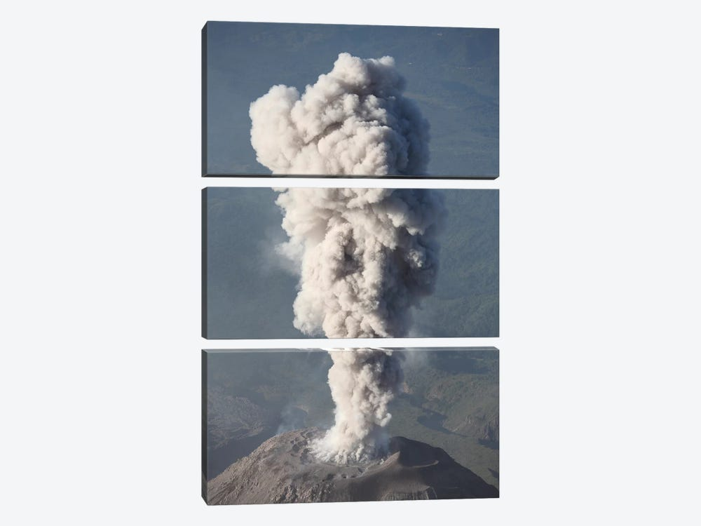 Eruption Of Ash Cloud From Santiaguito Dome Complex, Santa Maria Volcano, Guatemala III by Richard Roscoe 3-piece Canvas Wall Art