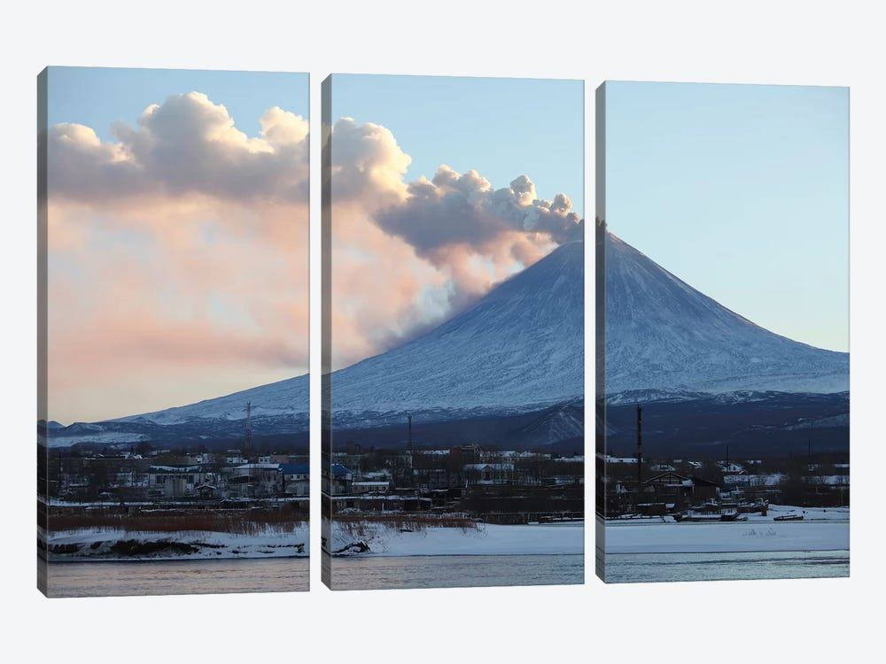 Eruption Of Kliuchevskoi Volcano, Kamchatka, Russia II 3-piece Canvas Art