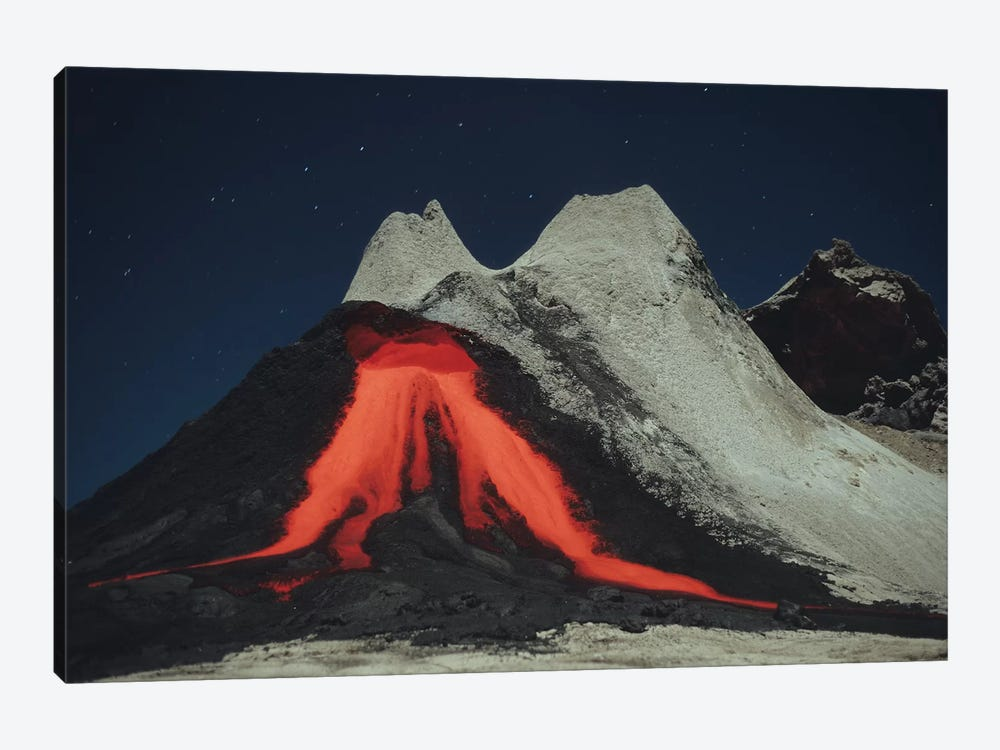 Eruption Of Natrocarbonatite Lava Flows From Hornito At Ol Doinyo Lengai Volcano, Tanzania, Africa by Richard Roscoe 1-piece Canvas Art Print