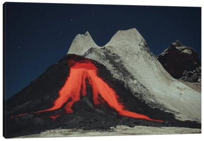 Eruption Of Natrocarbonatite Lava Flows From Hornito At Ol Doinyo Lengai Volcano, Tanzania, Africa Canvas Art Print