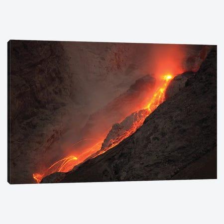 Extrusion Of Lava On Glowing Rockfalls Batu Tara Volcano, Indonesia 3-Piece Canvas #TRK1877} by Richard Roscoe Canvas Wall Art
