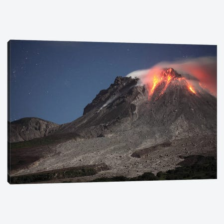 Glowing Lava Dome During Eruption Of Soufriere Hills Volcano, Montserrat, Caribbean Canvas Print #TRK1878} by Richard Roscoe Canvas Art Print