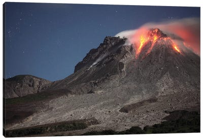 Glowing Lava Dome During Eruption Of Soufriere Hills Volcano, Montserrat, Caribbean Canvas Art Print