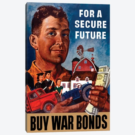 WWII Propaganda Poster Of A Farmer Holding His Future Canvas Print #TRK187} by John Parrot Art Print