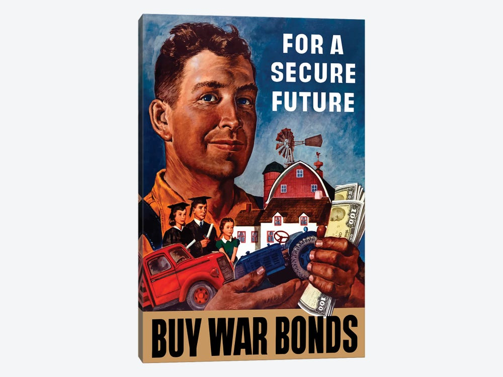 WWII Propaganda Poster Of A Farmer Holding His Future by John Parrot 1-piece Canvas Art Print