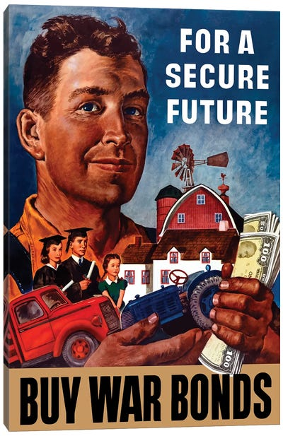 WWII Propaganda Poster Of A Farmer Holding His Future Canvas Art Print