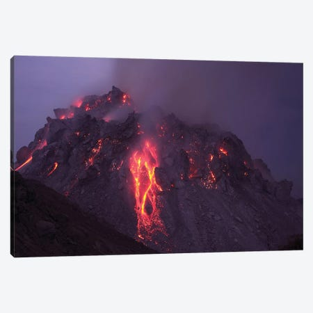 Glowing Rerombola Lava Dome Of Paluweh Volcano, Indonesia III 3-Piece Canvas #TRK1881} by Richard Roscoe Canvas Wall Art