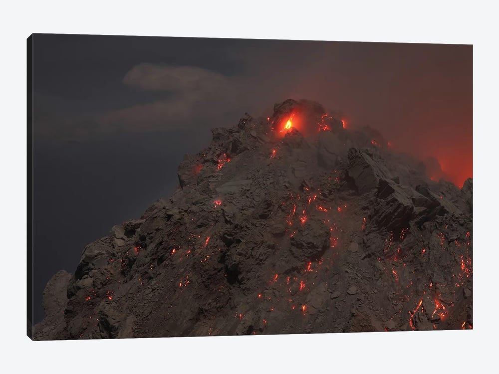 Glowing Summit Of Rerombola Lava Dome Of Paluweh Volcano by Richard Roscoe 1-piece Canvas Artwork