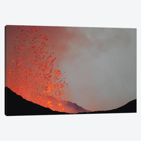 Lava Bombs Expelled During A Basaltic Fissure Eruption On Nyamuragira Volcano Canvas Print #TRK1886} by Richard Roscoe Canvas Art Print