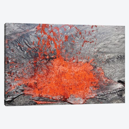 Lava Bubble Bursting Through Crust Of Active Lava Lake, Erta Ale Volcano, Danakil Depression, Ethiopia I Canvas Print #TRK1888} by Richard Roscoe Canvas Wall Art